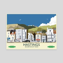 Hastings Vintage 50's Style railway poster - Canvas by MIKE TURTON