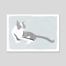 Grumpy, miserable, mardy cat No. 4 - Acrylic by Fiona Dunphy