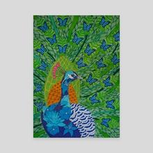 Peacock & Butterflies - Canvas by Paul Robbins