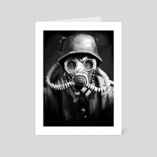 Gas Mask Sketch Painting - Art Card by Matthew Black