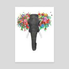 Floral Tusker - Canvas by Kevin Kabue