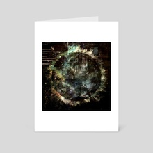Abstract painting with clocks - Art Card by Bruce Rolff