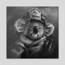 Koala Fireman - Acrylic by Ryan Allan