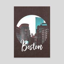 Boston Massachusetts Skyline and Typography Minimalism - Canvas by Anthony Londer