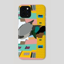 A woman with an eagle on her head - Phone Case by Michal Eyal