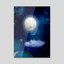 The loneliness of Moon Boy - Acrylic by Si Barnes