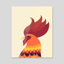 Cock - Acrylic by Volkan Dalyan