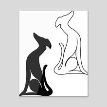 Greyhound sitting - Acrylic by Genevieve Blais