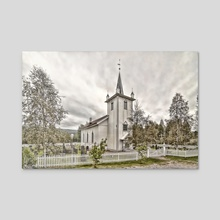 wooden church - Acrylic by Stefan Demervall