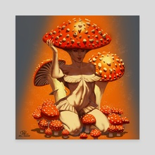 Mushroom Lady - Canvas by Will Rascoe