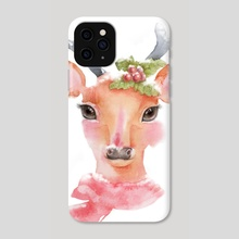 Watercolor-Cute deer with long eyelashes in the snow - Phone Case by Acharaporn Kamornboonyarush