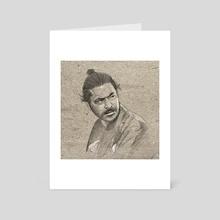 Yojimbo- Toshiro Mifune Portrait Drawing - Art Card by Ian Oz