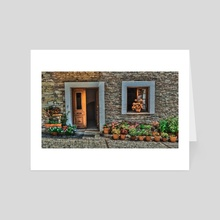 Stone House Entry With Flower Pots - Art Card by Denise Dundon