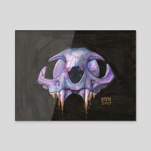 Dark cat skull - Acrylic by Nynke van der Linden