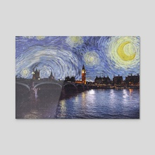 Starry Night Over London England - Acrylic by Anthony Londer