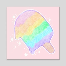 Pastel Rainbow Melty Popsicle - Acrylic by Bridget Garofalo