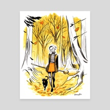 Sabrina in Autumn Woods - Canvas by Veronica Fish