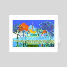 Ancient church by the water 2 - Art Card by Michal Eyal