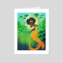 mermaid & lilypads - Art Card by Megan Rika Young
