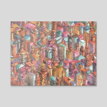 Watercolored New York City - Acrylic by brian foo