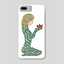 Woman of leaves in meditation. A symbolic picture. Grace. Beautiful girl. Female image - Phone Case by Dmytro Rybin