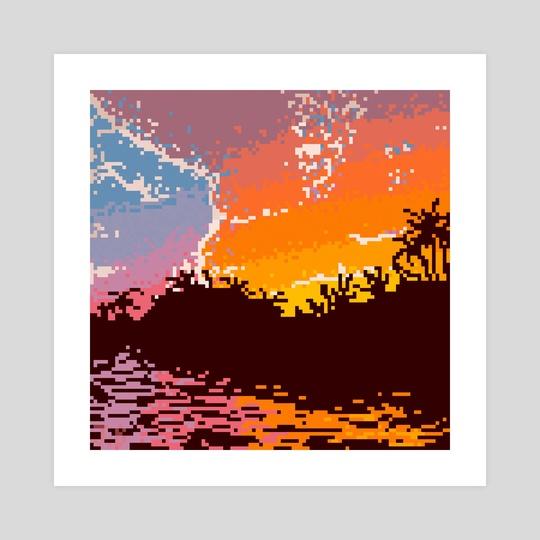 Pixel art color sunrise by Julie Bouvet