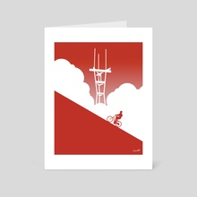 Biking in San Francisco: Sutro Tower - Art Card by Chris Cerrato