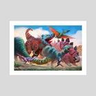 Dinosaur Parade  - Art Print by Alex Konstad