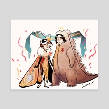 reylo-godzilla&mothra - Canvas by Lorna Moose