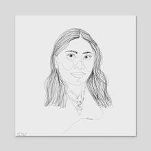 Yalitza Martinez (Single Line Drawing) - Acrylic by Trae Tay