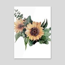 Sunflower II - Acrylic by Paulina Navarro