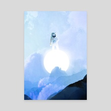 Astronaut on the Sun-Blue Landscape - Canvas by Anthony Londer