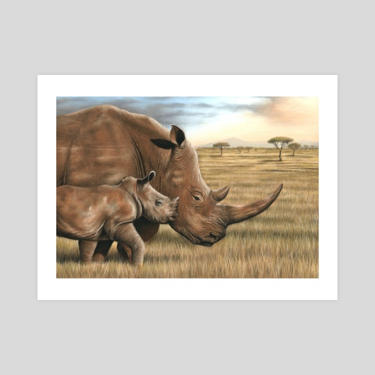 Rhino and Calf by Richard Macwee