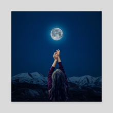 Talking to the moon - Canvas by Jared Sandoval