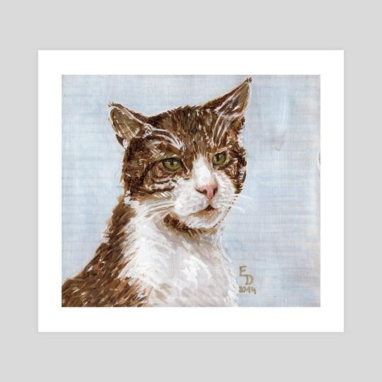 Cat On A Blue Background by Edmund Duhonský