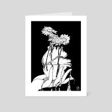 Bleeding Heart (Black and White) - Art Card by Mel McKenzie