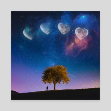 Heart Moon Phases - Canvas by Jared Sandoval