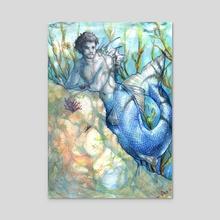 Blue Merman - Acrylic by Elisabetta Palmeri