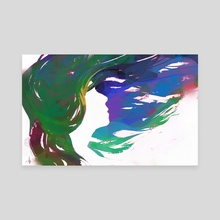 Colorful Hair: Green  - Canvas by Allison Gloe
