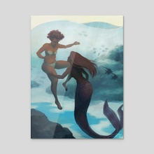 I fell in love with a mermaid - Acrylic by Kirsten Halvorsen