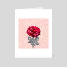 SPARKLING GLITTER RED ROSE - Art Card by Gloria Sánchez
