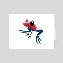 Strawberry Dart Frog - Art Card by Melissa  van der Paardt