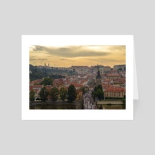 golden hour on charles bridge - Art Card by sina iranikhah