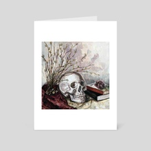 Skull, Flowers And Books - Art Card by Mary Black