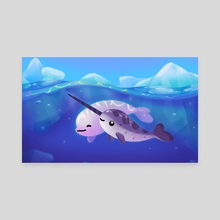 Beluga and Narwhal - Canvas by pikaole