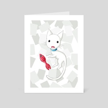 Cat and Fish - Art Card by Indré Bankauskaité