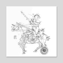 Steampunk Knight - Acrylic by Emiliano Martinez