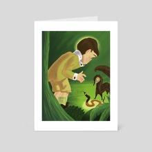 Rikki Tikki Tavi is startled by Karait - Art Card by Harrison Pyle