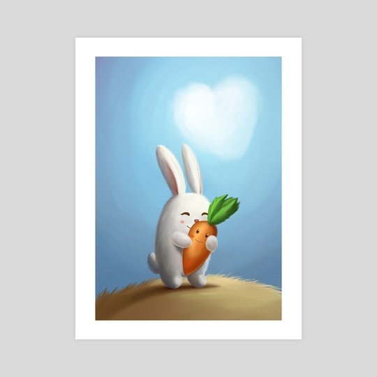 White bunny with carrot in love by Olga Yatsenko