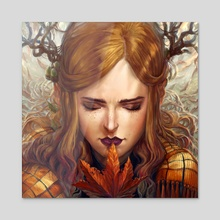 Autumn Girl - Acrylic by Naomi Robinson